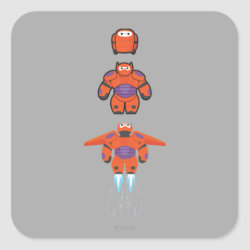 Square Sticker with Baymax Mech Flight Take-Off design