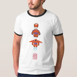 Men's Basic Ringer T-Shirt with Baymax Mech Flight Take-Off design