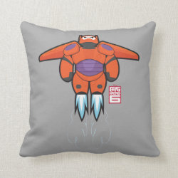Cotton Throw Pillow with Baymax Mech Flight Take-Off design