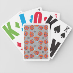 Playing Cards with Baymax in Battle Armor Superhero Pattern design