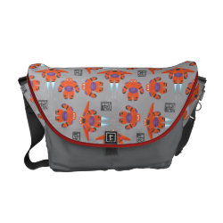 Rickshaw Medium Zero Messenger Bag with Baymax in Battle Armor Superhero Pattern design