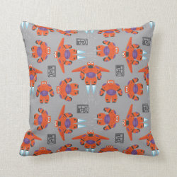 Cotton Throw Pillow with Baymax in Battle Armor Superhero Pattern design