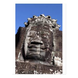Bayon face sculpture Angkor Thom, Siem Reap Postcard
