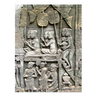 Bayon Temple Wall Relief - Honoring the King Postcard
