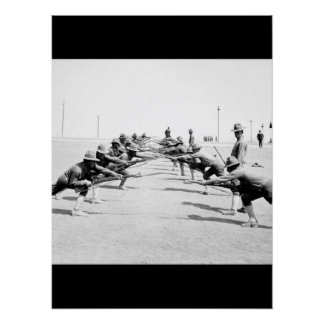 Bayonet practice.  Camp Bowie_War Image Poster