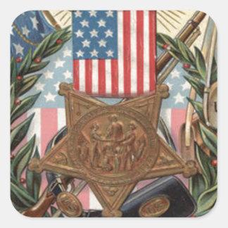 Bayoneta del rifle de la guirnalda de la medalla pegatina cuadrada