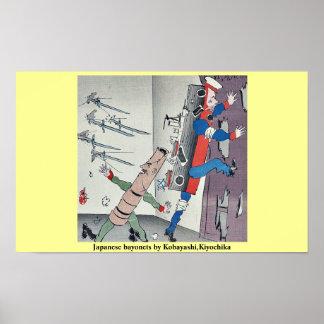 Bayonetas japonesas por Kobayashi, Kiyochika Póster