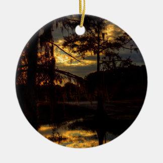 Bayou Sunset Reflection Double-Sided Ceramic Round Christmas Ornament