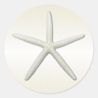 Bayside Single Starfish Champagne Round Classic Round Sticker