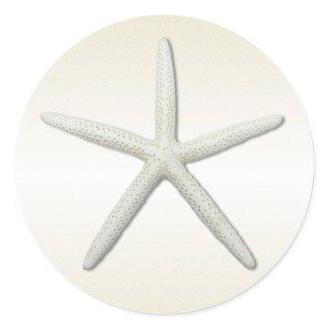 Beach Themed Bayside Single Starfish Champagne Round Classic Round Sticker
