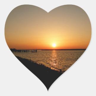 Bayside Sunset Heart Sticker