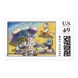 Baywatch Beach Bunnies Custom Postage Stamps