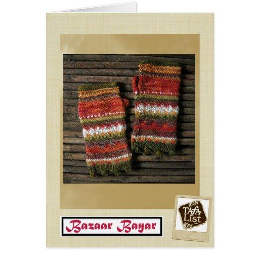 Bazaar Bayar Knitted Fingerless Gloves Card