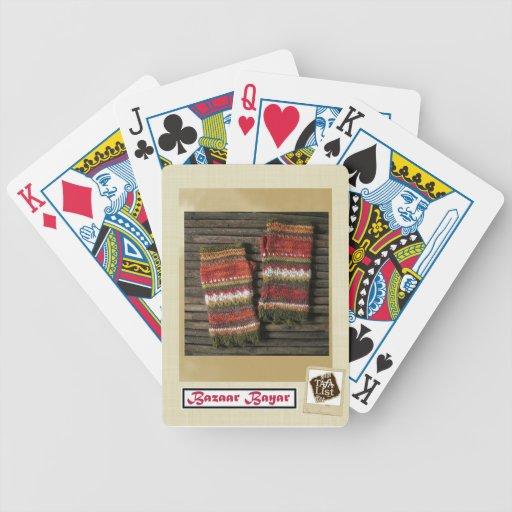Bazaar Bayar Knitted Fingerless Gloves Bicycle Card Decks