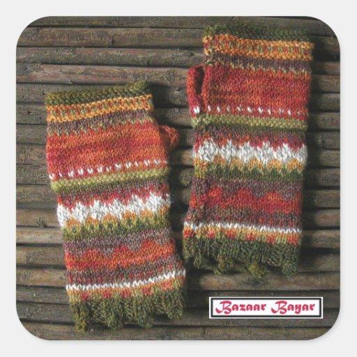 Bazaar Bayar Knitted Fingerless Gloves Square Sticker