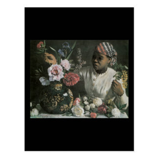 Bazille African Woman With Peonies Postcard