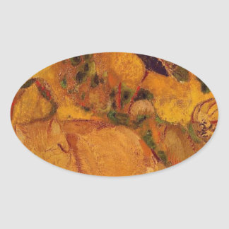 Bazon: The Artist's Cat by Odilon Redon Oval Sticker