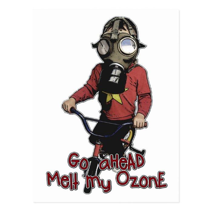Bazooka Kid - Gas Mask and Bike Postcard