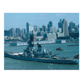 "BB-61 ""USS Iowa"", New York Harbor, U.S.A. Postcard"
