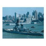 """BB-61 """"USS Iowa"""", puerto de Nueva York, los E.E.U. Tarjeta Postal"""