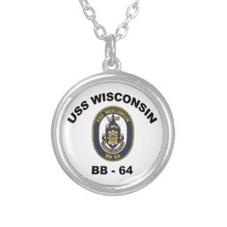 BB-64 USS Wisconsin Round Pendant Necklace