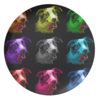 bb australiano del arte pop del perro de pastor platos para fiestas