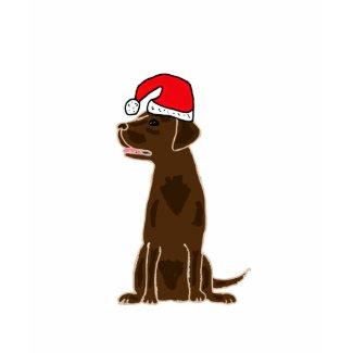 BB- Chocolate Labrador Wearing Santa Hat Shirt shirt