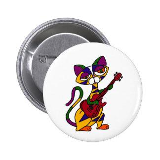 BB- Cool Cat Playing Guitar Cartoon Pinback Buttons