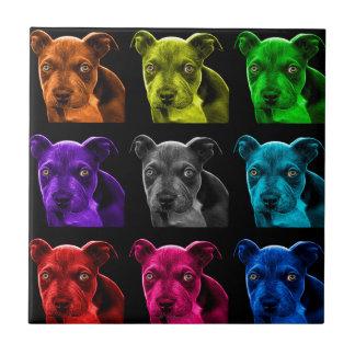 bb del arte pop del perro del pitbull 0785 azulejo cuadrado pequeño