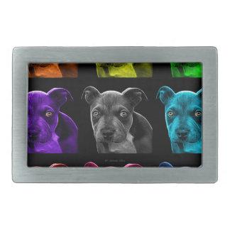 bb del arte pop del perro del pitbull 0785 hebilla cinturón rectangular
