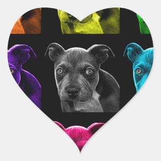 bb del arte pop del perro del pitbull 0785 pegatina en forma de corazón