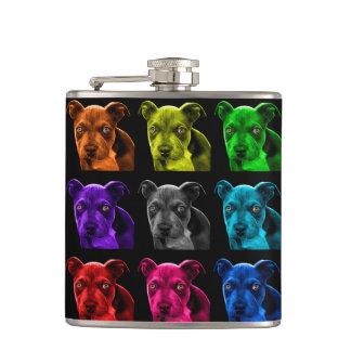 bb del arte pop del perro del pitbull 0785 petaca