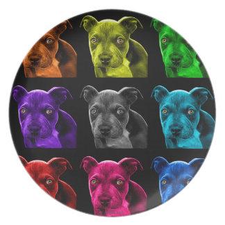 bb del arte pop del perro del pitbull 0785 platos de comidas