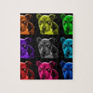 bb del arte pop del perro del pitbull 0785 rompecabezas con fotos