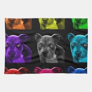 bb del arte pop del perro del pitbull 0785 toalla de mano