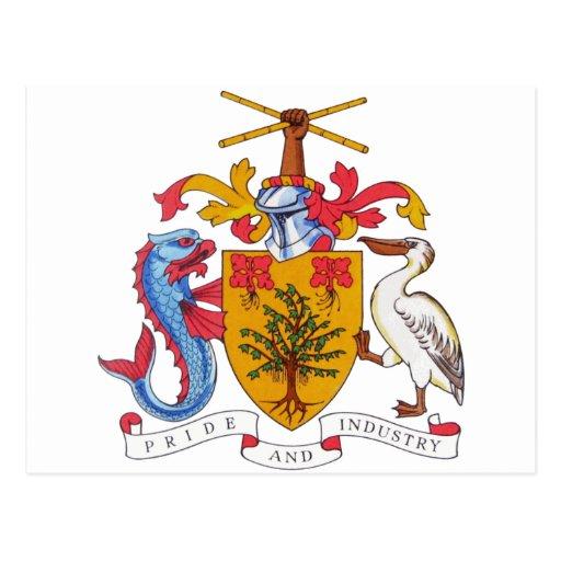 BB del escudo de armas de Barbados Postales