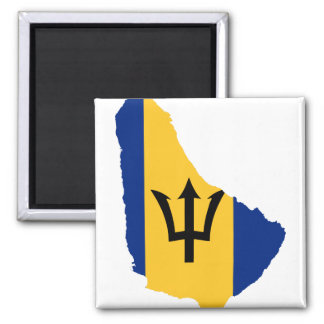 BB del mapa de la bandera de Barbados Imán Cuadrado
