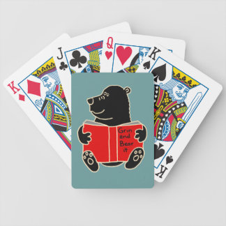 BB- Funny Bear Reading Book Cartoon Bicycle Playing Cards