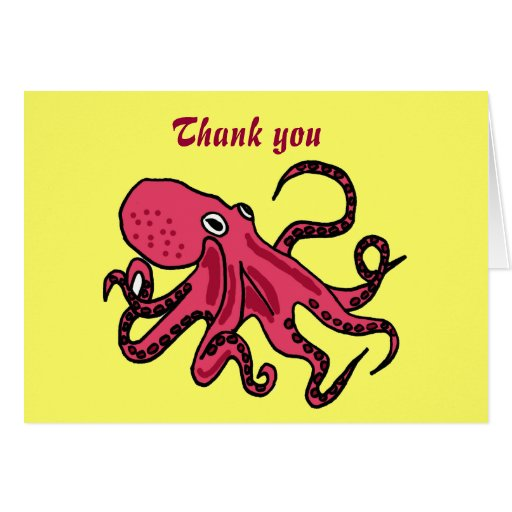 Bb funny octopus thank you card zazzle