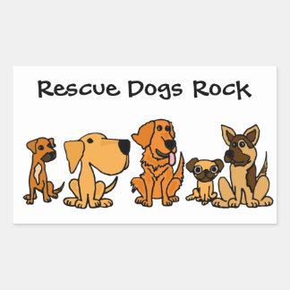 BB- Funny Rescue Dogs Group Cartoon Rectangular Sticker