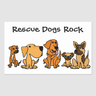 BB- Funny Rescue Dogs Group Cartoon Rectangle Sticker