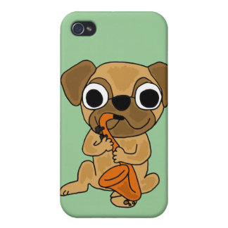 BB- Pug Playing Saxo Cartoon Cases For iPhone 4