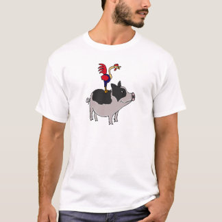 BB- Rooster on a Pot Bellied Pig Cartoon T-Shirt