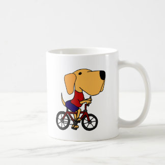 BB- Yellow Labrador Dog Riding Bicycle Cartoon Coffee Mug