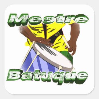 BBaC Stiker Mestre Batuc Samba Batucada Brasil Pegatina Cuadrada