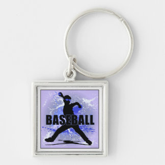 bball5 Silver-Colored square keychain
