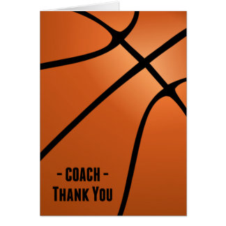 Bball Coach-Thank You for Dedication, Hard Work Card