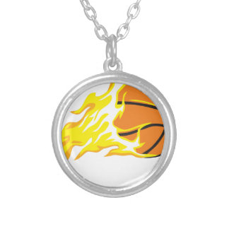 bball flame silver plated necklace