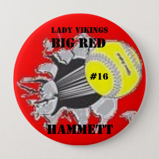 BBBW0131, Hammett, BIG RED, Lady Vikings, #16 Pinback Button