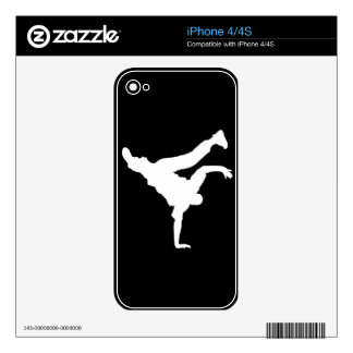 BBOY pose white phone skin Decals For The iPhone 4S